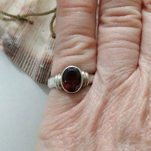 Jewelry - Sterling Silver Garnet Artisan Ring-Sz 4.5